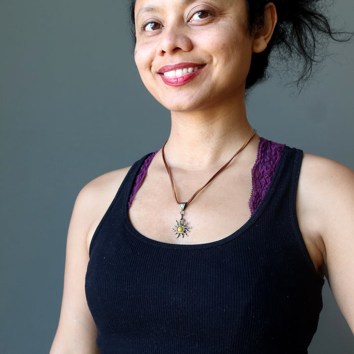 sheila of satin crystals wearing yellow jasper sun necklace