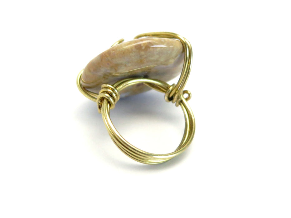 Jasper Yellow Ring Muted Purple Donut Gold Wire Wrapped Statement Size 7.25