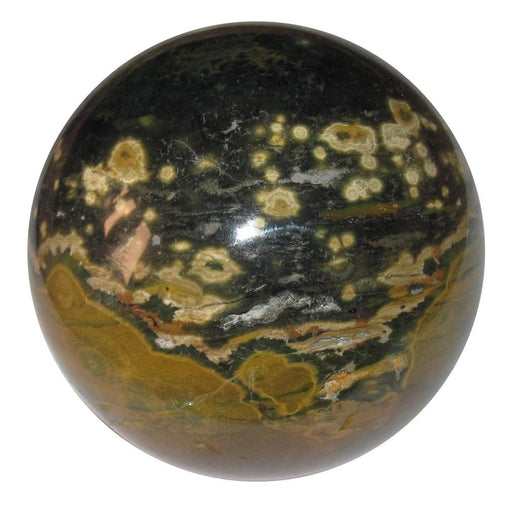 black and brown spotted ocean jasper sphere
