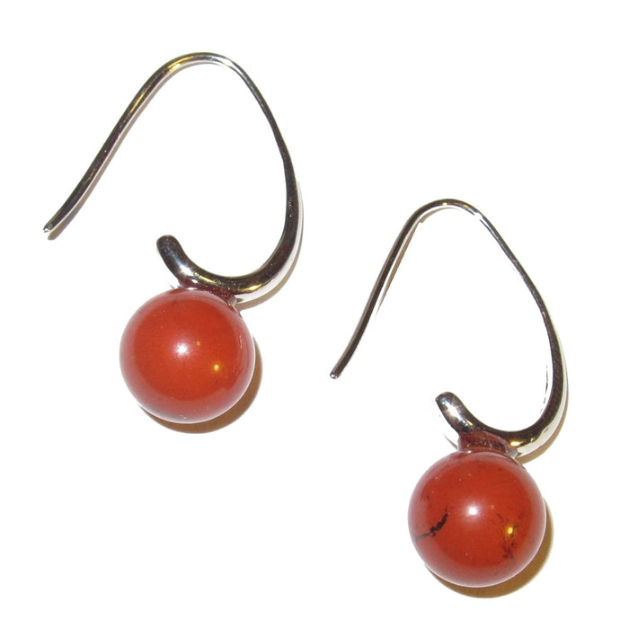 "Jasper Earrings 1.2"" Bright Red Stone Elegant Silver Style Crystal Healing Colorful Gem 02"