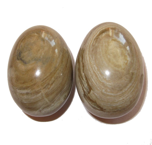 Jasper Egg Brown 02 Pair Smooth Natural Healing Crystals Easter Mineral Collection 2.1""