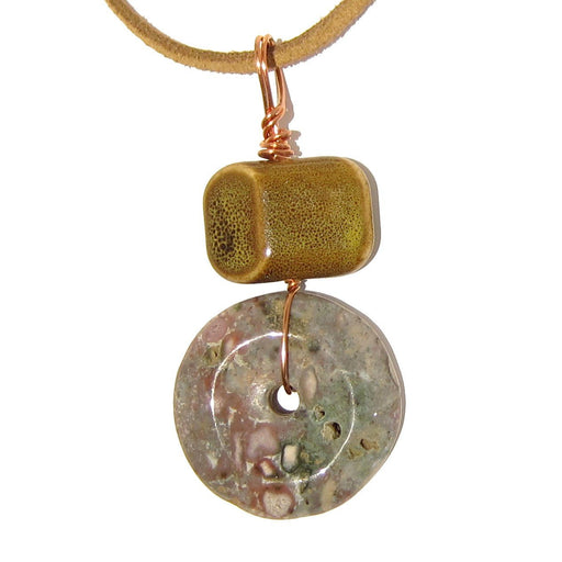 Jasper Necklace Purple Donut Stone Yellow Ceramic Brown Leather One-of-Kind