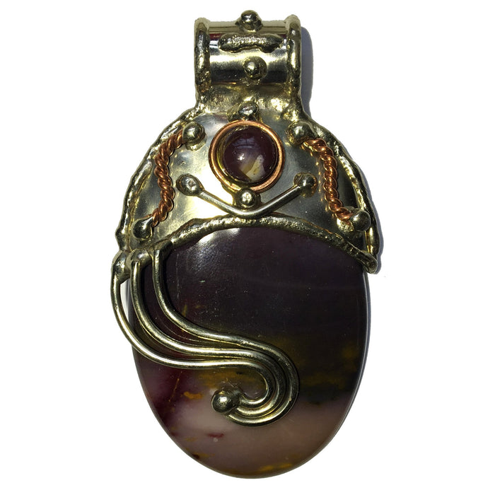 purple mookaite oval in designer metal pendant