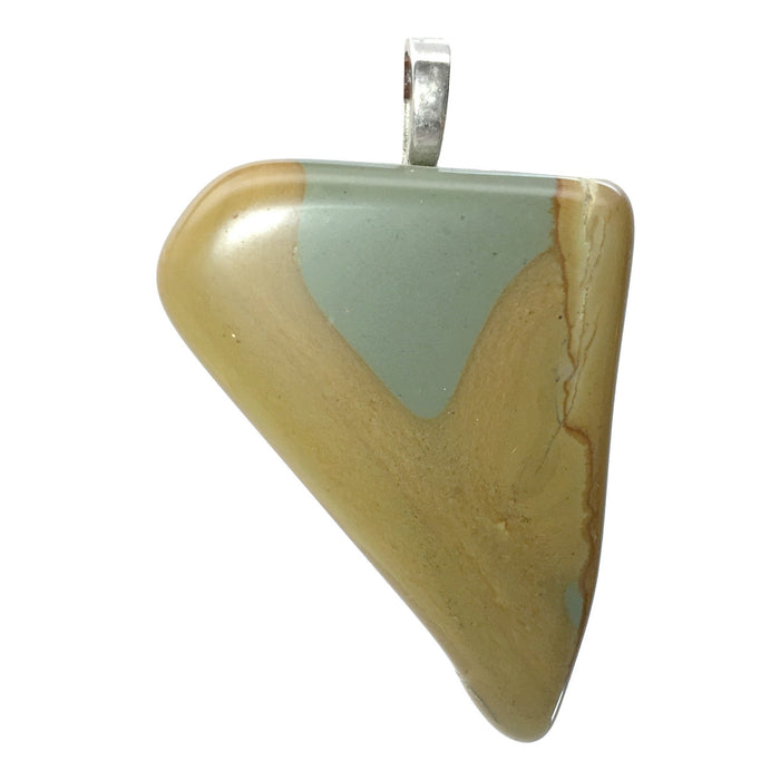 landscape jasper brown and gray triangular stone on silver bail