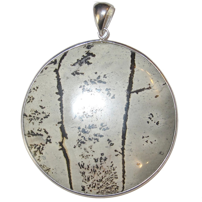 circular gray jasper with black dendrites framed in silver pendant