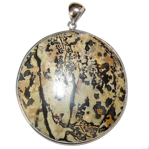 "Jasper Pendant Dendritic 2.8"" Enchanting Landscape Crystal Brown Round One-of-Kind 54"