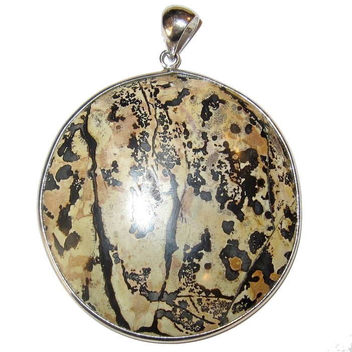 brown jasper circle with black dendrite inclusions set in silver framed pendant