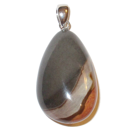 gray, cream, brown, red polychrome jasper teardrop on silver pendant