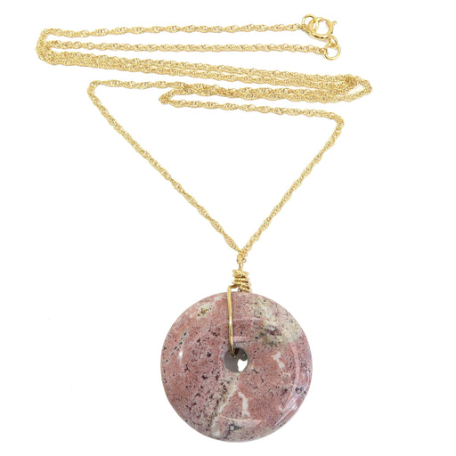 pink spotted picture jasper donut amulet stone on 14 karat gold necklace chain