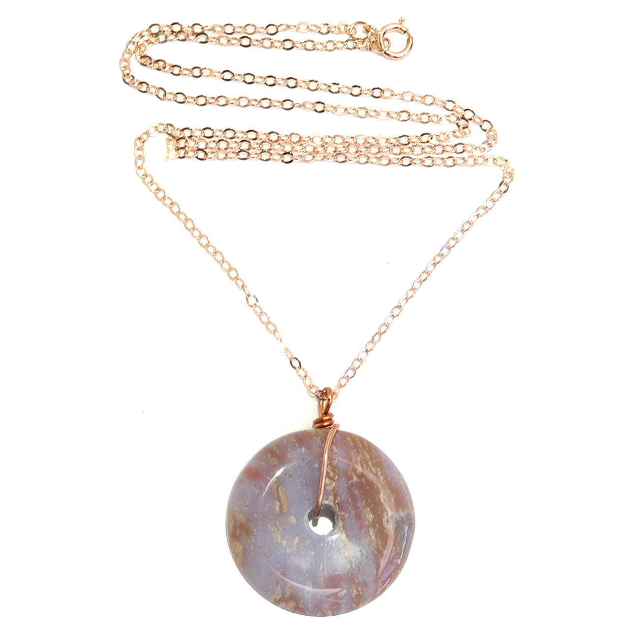 Jasper Picture Necklace Boutique Purple Spotted Donut Stone Amulet 14 Karat Rose Gold B02
