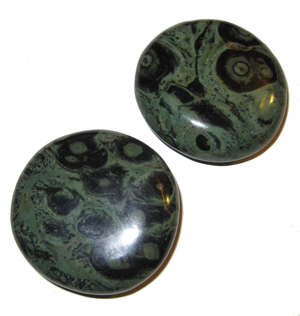 "Jasper Polished Stone Green 02 Pair Crocodile Kambala Meditation Healing Crystals 2.1"" (Gift Pouch)"
