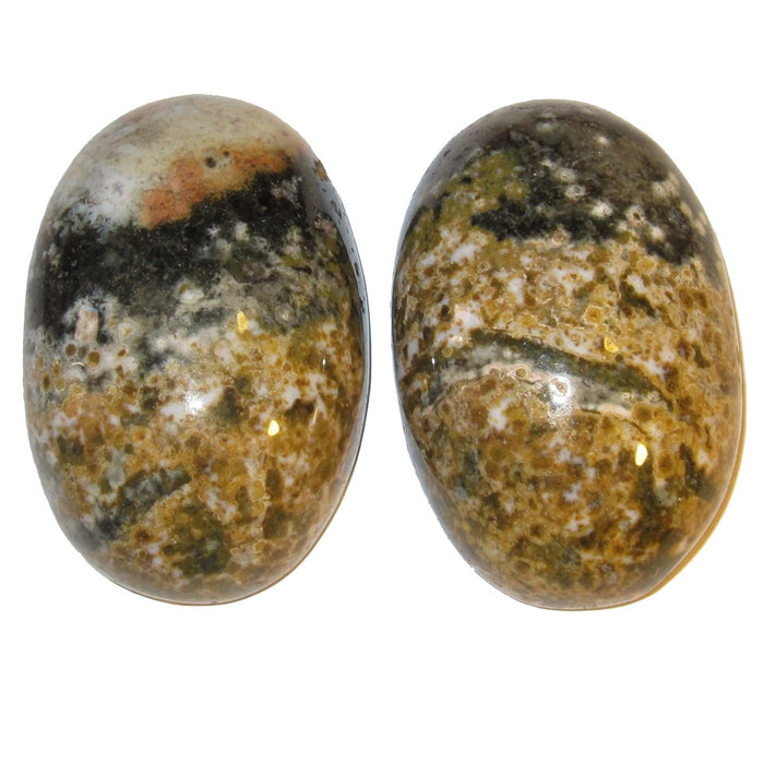 set of two spotted yellow, green, white ocean jasper oval cabochons
