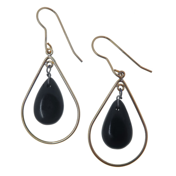 "Jet Earrings 1.9"" Gold 14-Karat Sophisticated Teardrop Hoops Genuine Black Gemstone B01"
