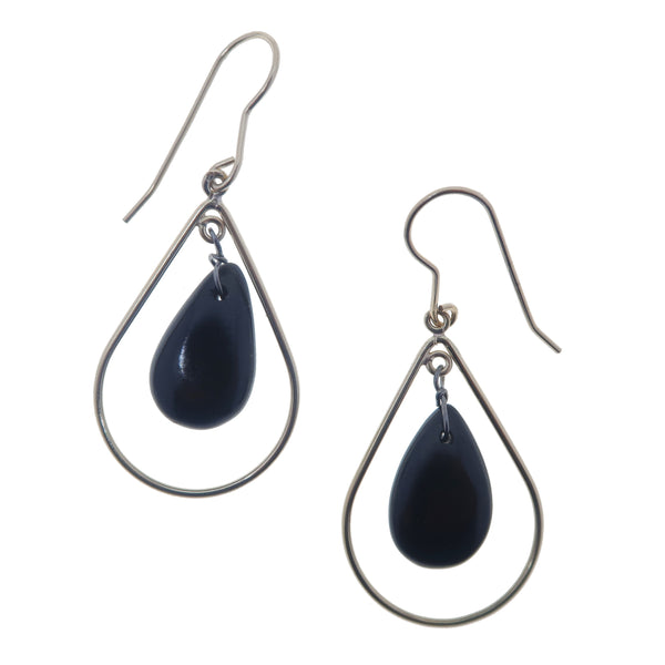 "Jet Earrings 1.9"" Sterling Silver Teardrop Black Gemstone Fancy Crystal Healing Hoop B01"
