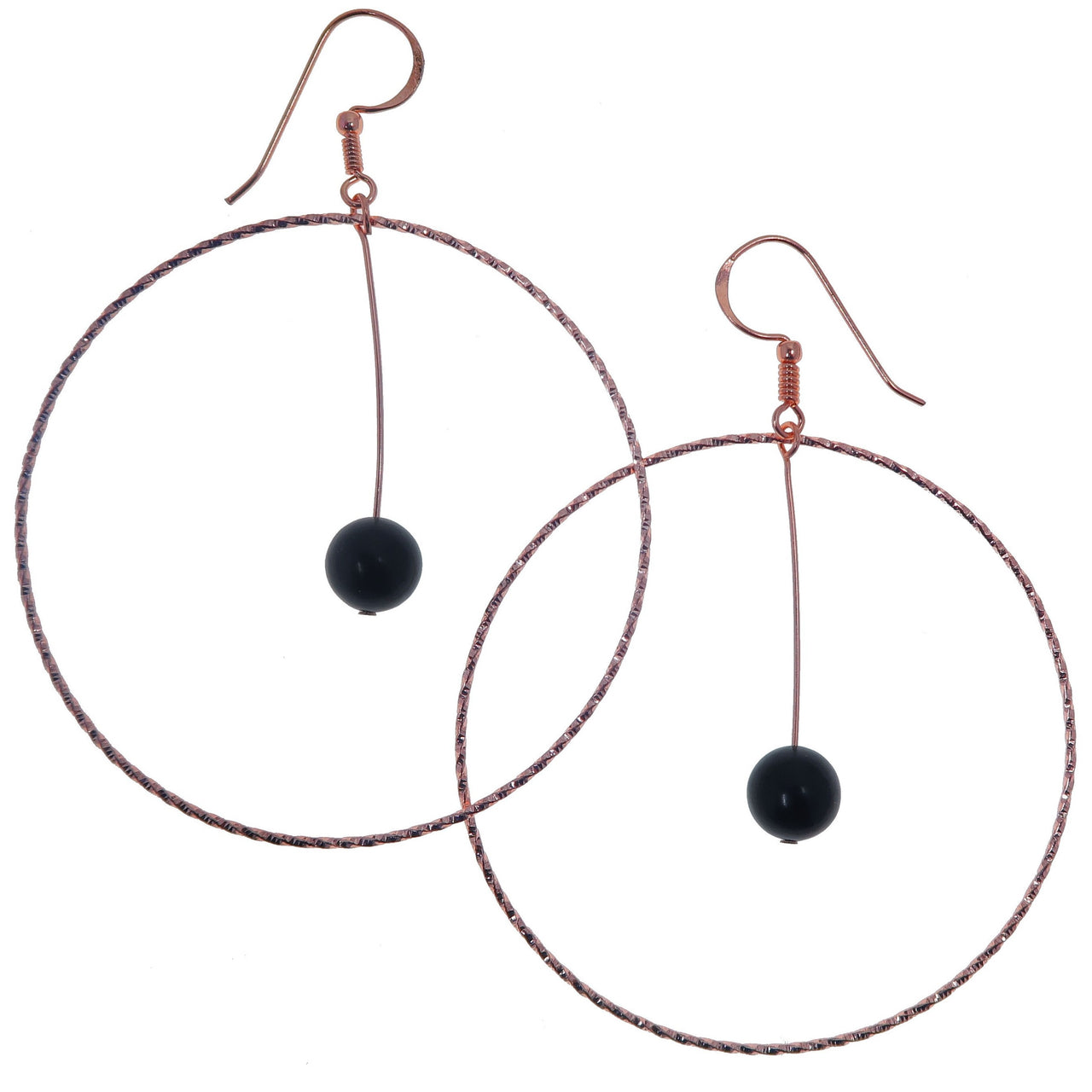 "Jet Earrings 3.5"" Big Copper Hoop Genuine Black Gemstone Crystal Healing Statement B02"