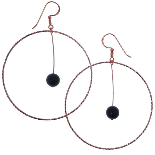 "Jet Earrings 3.5"" Boutique Genuine Black Gemstone Copper Crystal Healing Big Hoop B02"