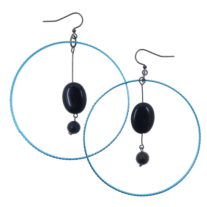 Jet Earrings Black Oval Round Stone Big Blue Hoops