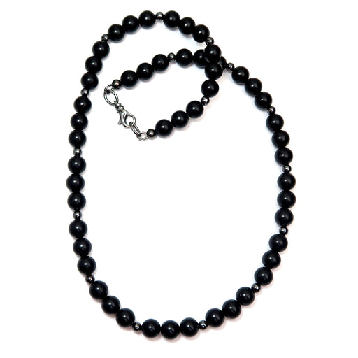 black jet stone round beaded necklace with gunmetal accents