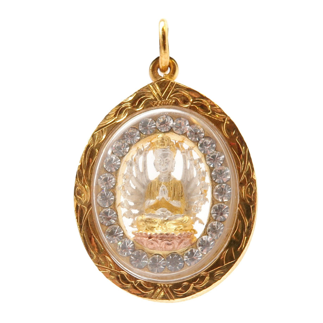 "Kwan Yin Pendant 1.4"" Specialty One-of-Kind 18 Karat Gold Thousand Arm Goddess Spiritual 08z"
