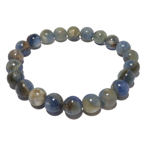 Kyanite Bracelet 7mm Round Genuine Metallic Blue Gemstone Stretch
