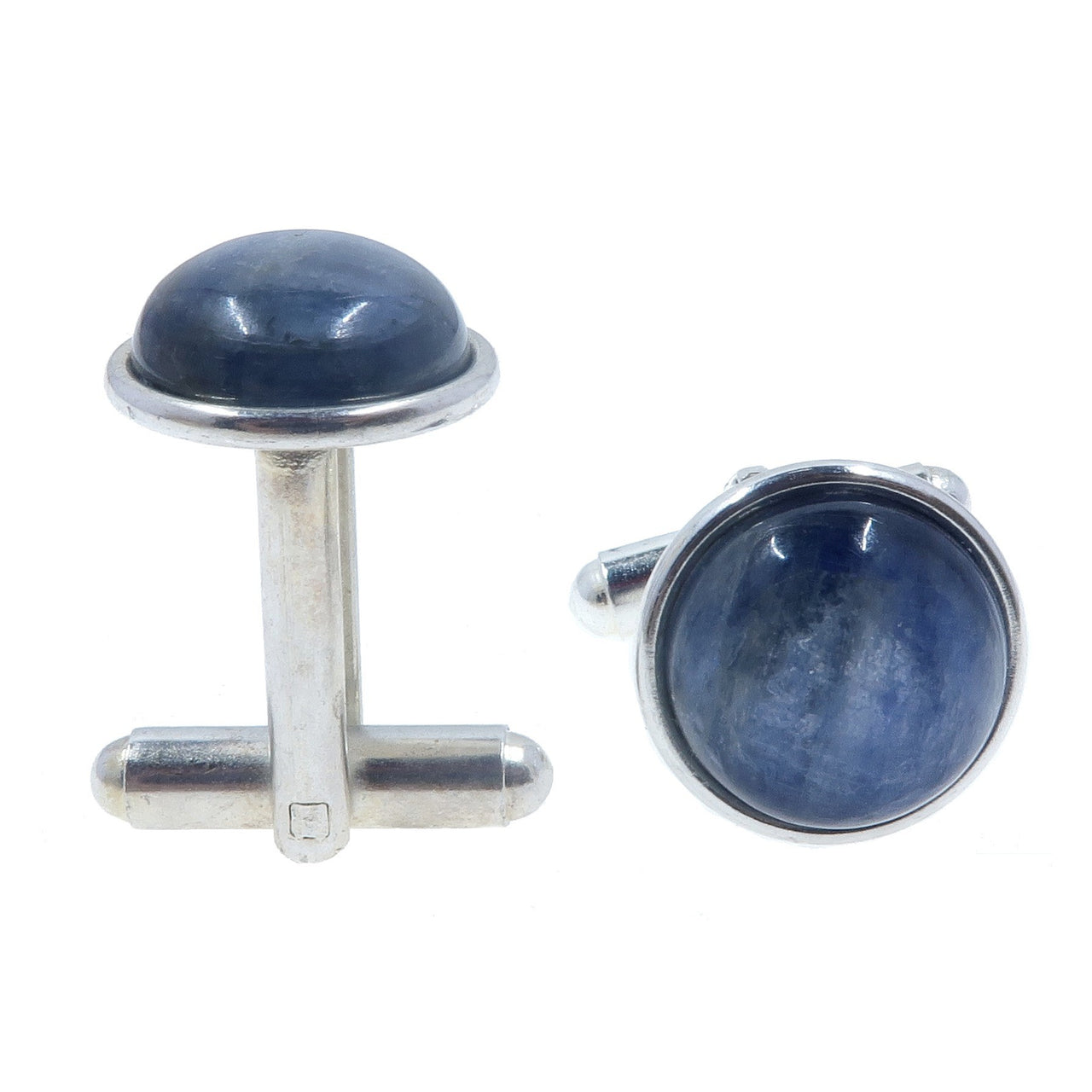 Kyanite Cufflinks Silver 12mm Boutique Metallic Blue Smooth Round Gemstone Unisex B01
