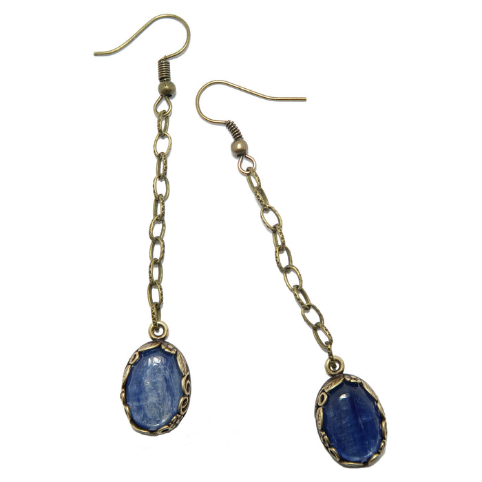 Kyanite Earrings Shiny Magical Blue Oval Gemstones Antique Chain Dangle