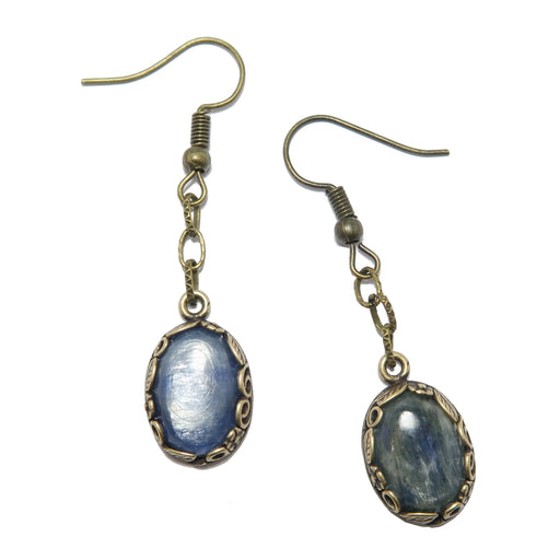 Kyanite Earrings Shiny Blue Oval Gemstones Antique Chain Dangle