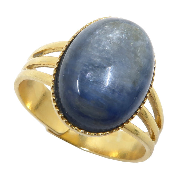Kyanite Blue Ring 4-10 Boutique Gemstone Oval Adjustable Metal B02 (Gold)