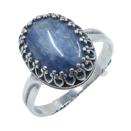 blue kyanite oval in adjustable sterling silver ring
