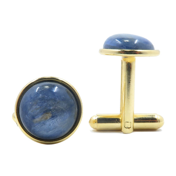 Kyanite Cufflinks 12mm Boutique Metallic Blue Smooth Round Gemstone Metal B01 (Gold)