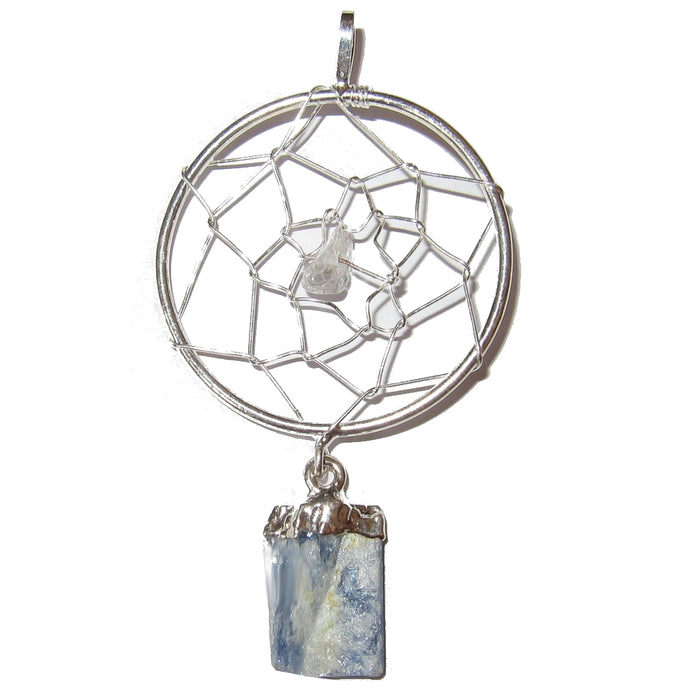 Kyanite Pendant 02 Dream Catcher Blue Gemstone Hopes & Wishes Manifestation Jewelry 2.5""