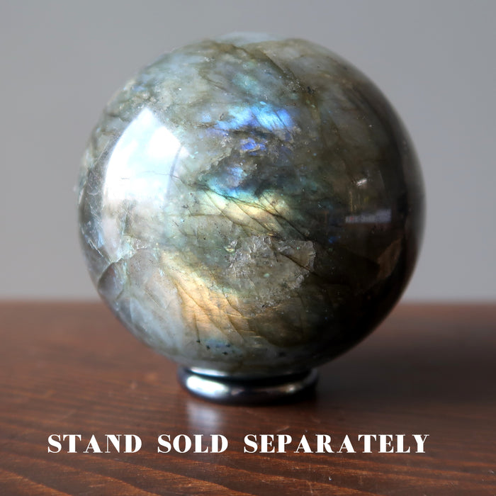 labradorite sphere on hematine ring stand which is sold separately