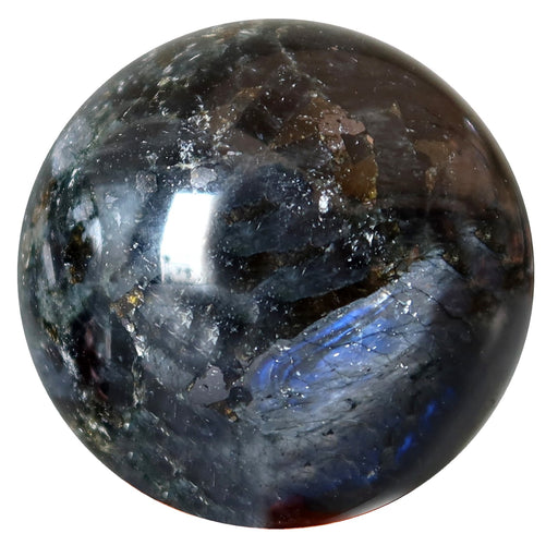labradorite, black tourmaline, magnetite crystal ball