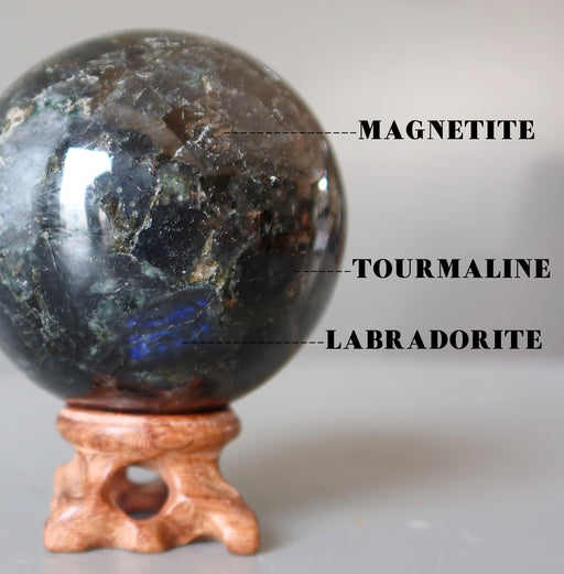 labradorite, black tourmaline, magnetite crystal ball on wood stand