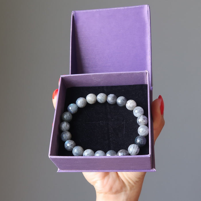 faceted labradorite beaded stretch bracelet in satin crystals gift box