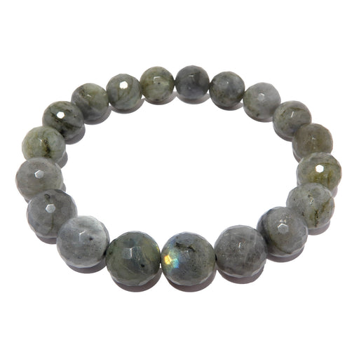 faceted labradorite beaded stretch bracelet