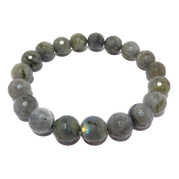 Labradorite Bracelet Faceted 9mm Round Fancy Blue Sheen Gemstone Crystal Stretch
