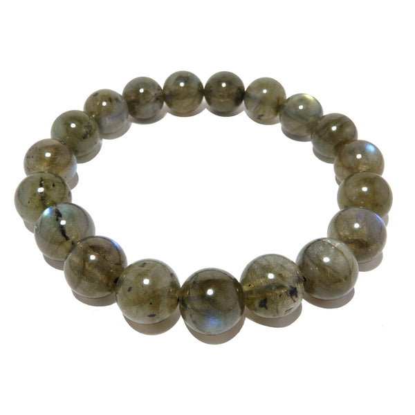 Labradorite Bracelet 9mm Boutique Polished Smooth Round Flash Sheen Stone Stretch B04