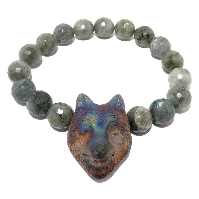 faceted labradorite and wolf head beaded stretch bracelet