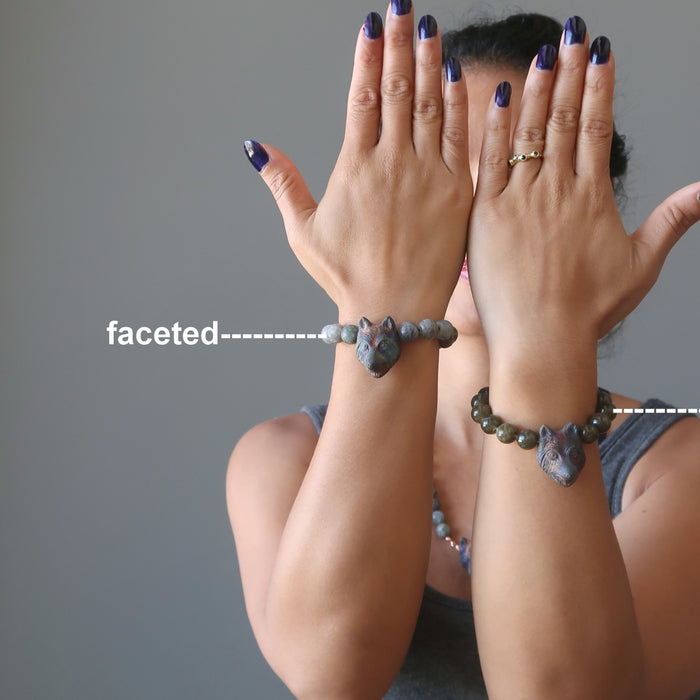sheila of satin crystals wearing a smooth and a faceted labradorite and wolf head beaded stretch bracelet