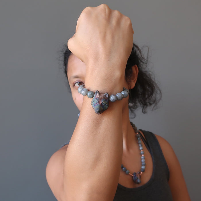 sheila of satin crystals modeling faceted labradorite and wolf head beaded stretch bracelet