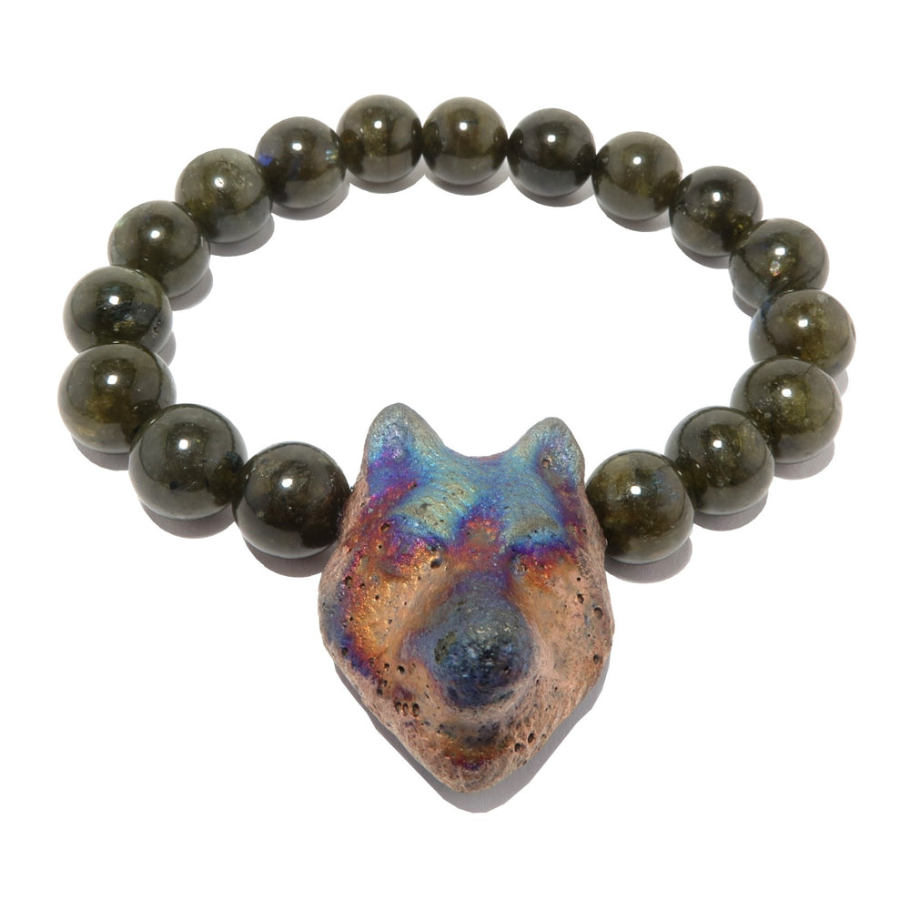 Labradorite Bracelet Smooth Wolf Rainbow Stone Boutique Spiritual Animal Round Stretch B06