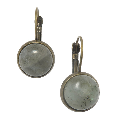 gray labradorite circle cabochons in bronze leverback earrings