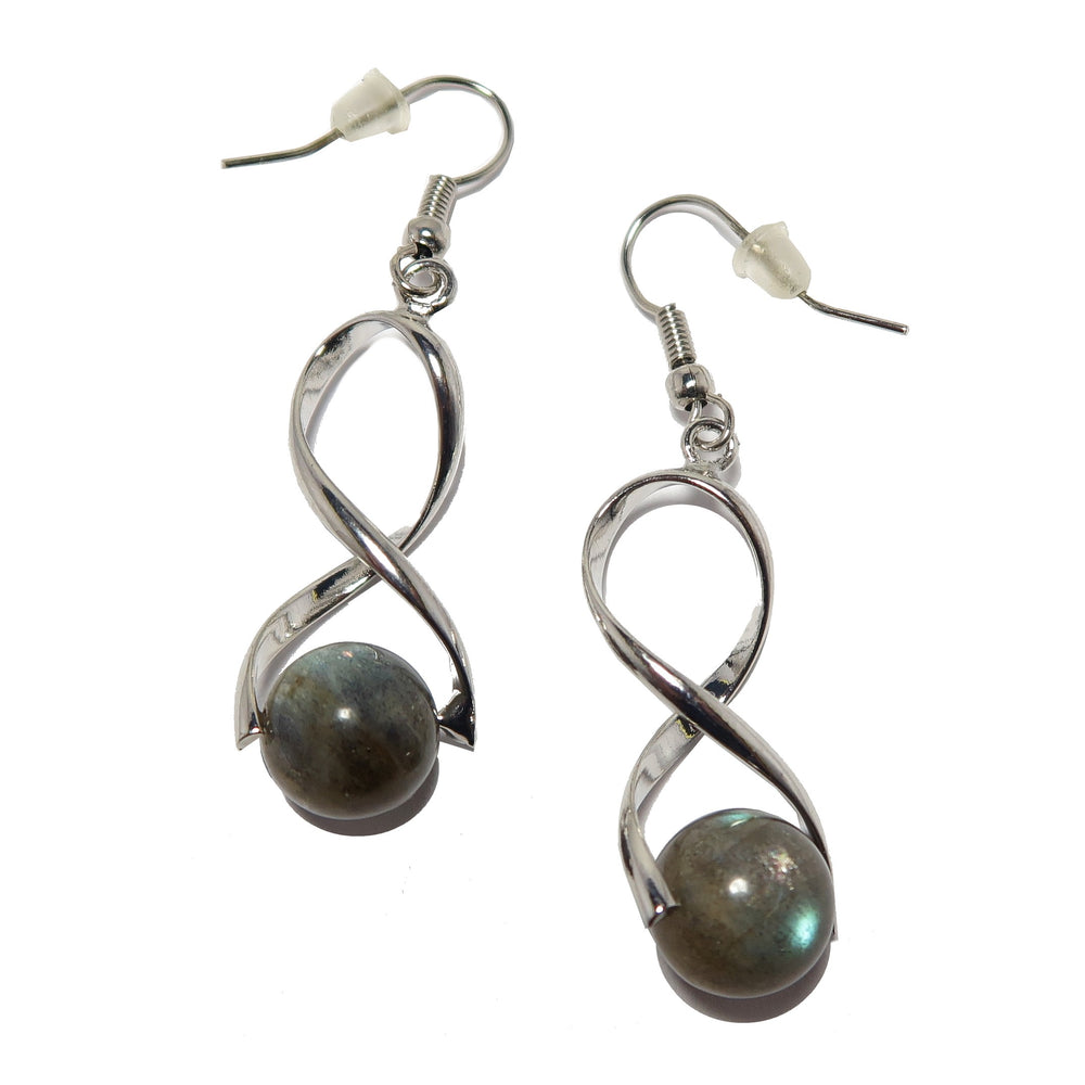 Labradorite Earrings High Sheen Gemstone Silver Designer Twist