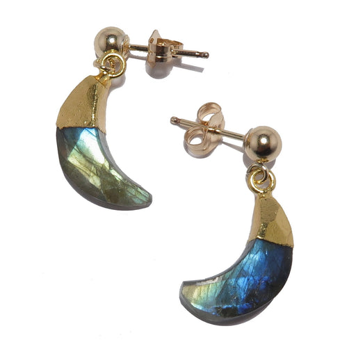 labradorite moon gold post earrings