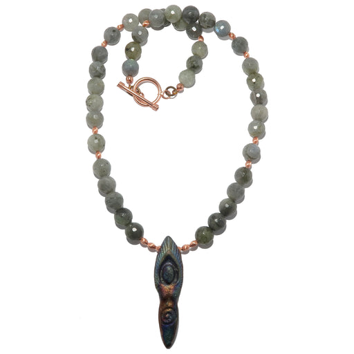 goddess pendant on faceted labradorite and copper beaded necklace