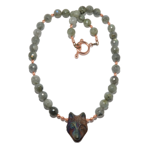 faceted labradorite beaded necklace featuring raku wolf head pendant