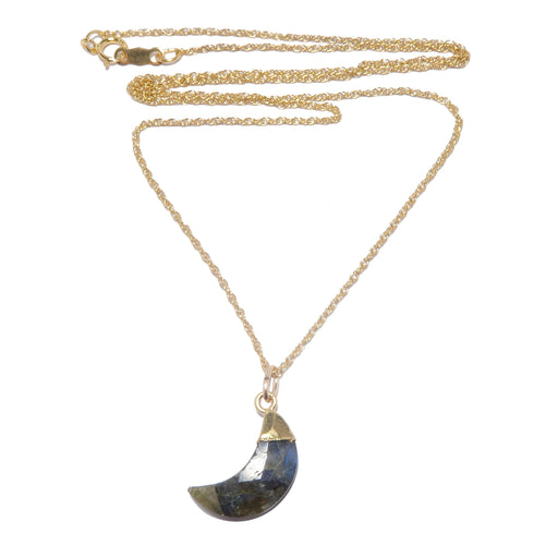 faceted labradorite crescent moon gold chain necklace