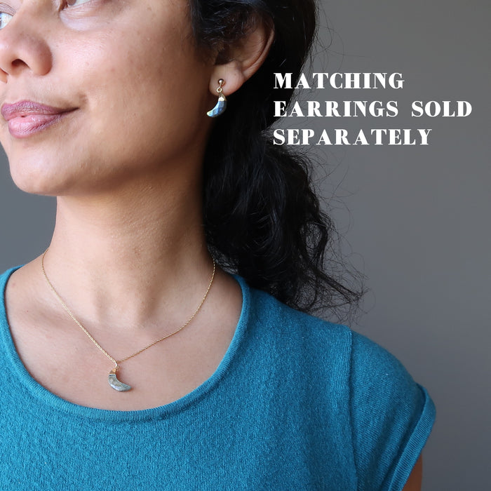 sheila of satin crystals wearing faceted labradorite crescent moon gold chain necklace and matching earrings which are sold separately
