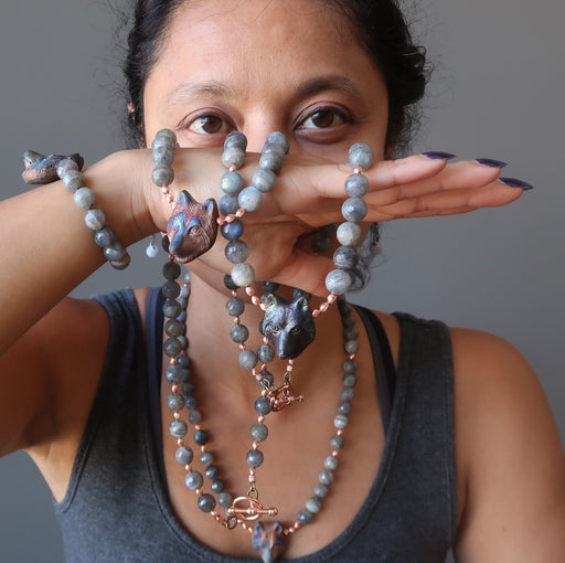 sheila of satin crystals wearing wolf labradorite jewelry